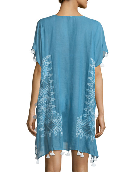 Cross Stitch Embroidered Kaftan Coverup, One Size