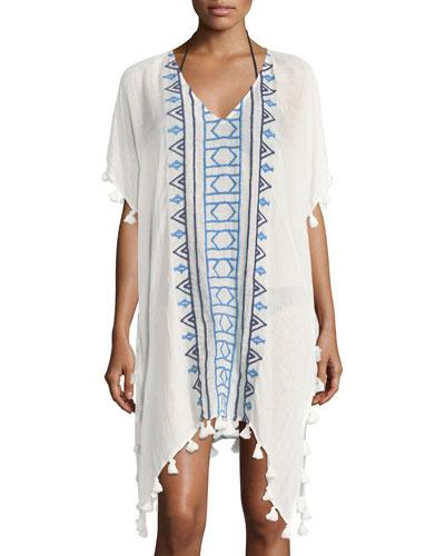 V-Neck Embroidered Jacquard Kaftan Coverup W/ Tassels, One Size