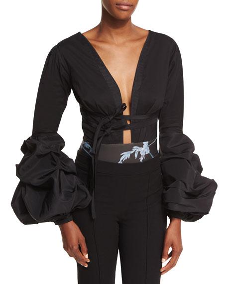 Gitan Plunging Tie-Waist Bodysuit