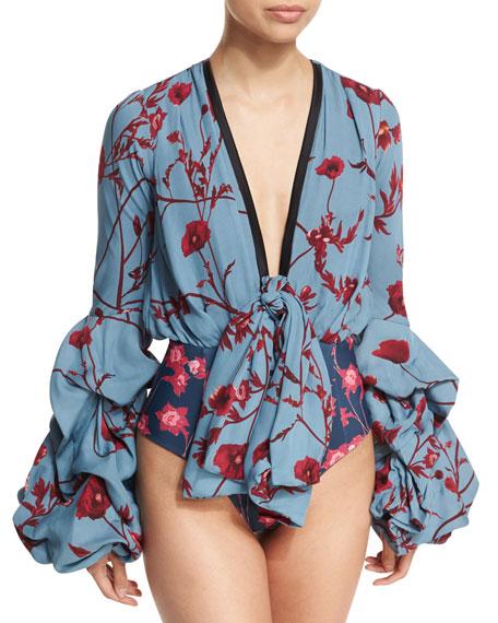 Florence Floral-Print Georgette Bodysuit