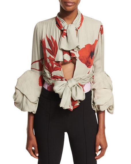 Alana Floral-Print Georgette Bodysuit