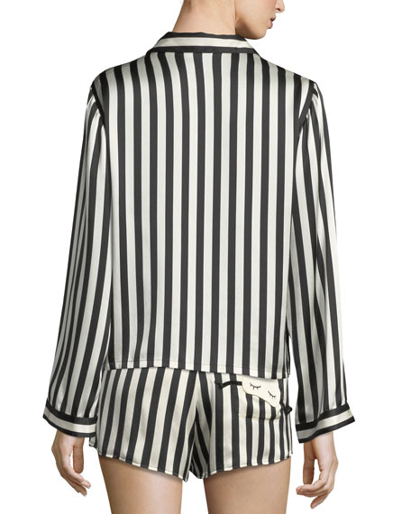 Morgan Lane Amanda Fatherazi Ruthie Striped Silk-Charmeuse Pajama Top In  Black 8671c502f