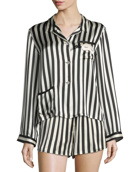 Ruthie Long-Sleeve Striped Silk Pajama Top