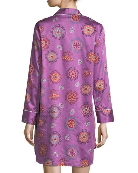 Mayan Print Long-Sleeve Sateen Sleepshirt