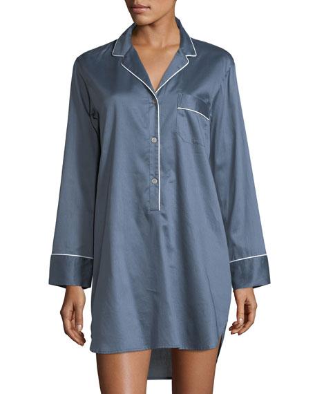 Contrast-Trim Long-Sleeve Sateen Sleepshirt