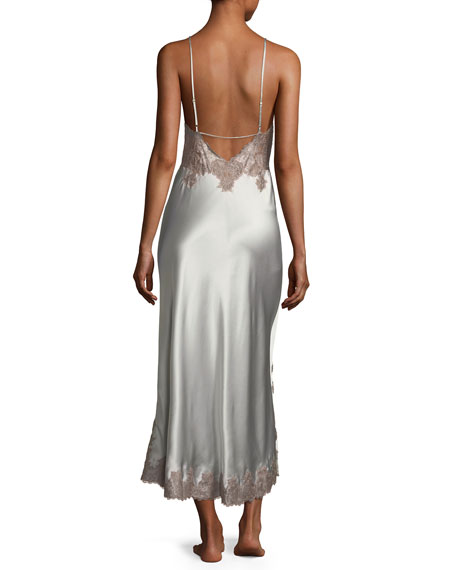 Lillian Long Sleeveless Lace-Trim Nightgown