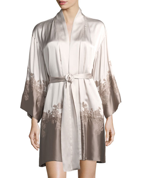 Lolita Colorblock Lace-Trim Silk Robe