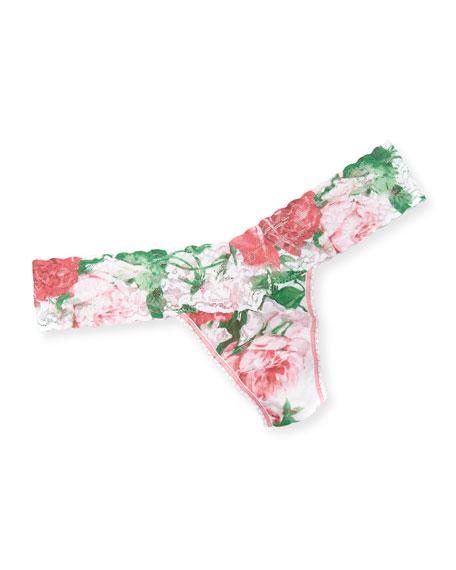 Hanky Panky Panties BLUSHING ROSE LOW-RISE FLORAL LACE THONG