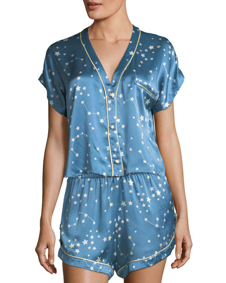 Joanie Star-Print Silk Pajama Top