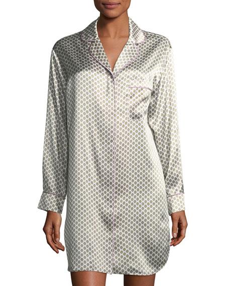 Poppy Six Long-Sleeve Silk Sleepshirt