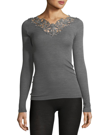 Pure Opulence Lace-Trim Wool-Silk Top