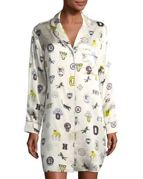 Poppy Crystal Long-Sleeve Silk Sleepshirt