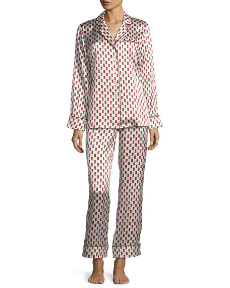 Lila Brooke Long Silk Pajama Set