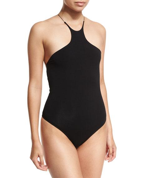 Halter-Neck Stretch-Jersey Bodysuit