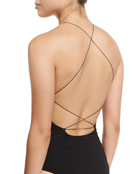 Halter-Neck Stretch-Jersey Bodysuit