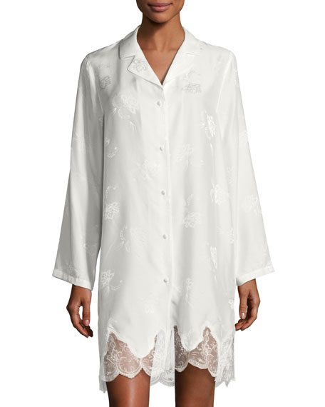 Orchid Paradis Long-Sleeve Satin Sleepshirt