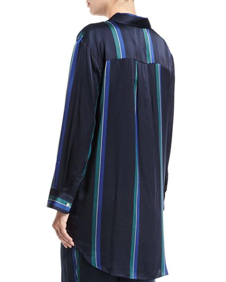 Midnight Stripe Silk-Satin Pajama Top