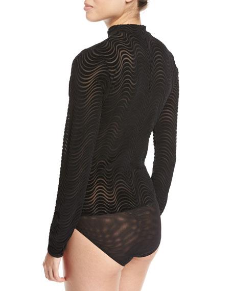 Devore Wavy Burnout Long-Sleeve Bodysuit