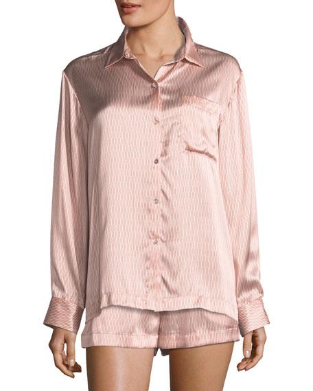 Rose Matchstick Silk Pajama Top