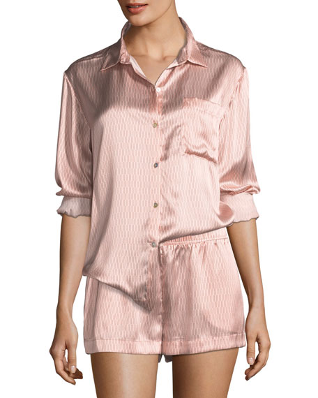 Rose Matchstick Silk Pajama Top