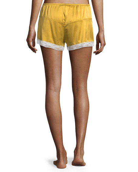 Bina Lace-Trim Silk Shorts