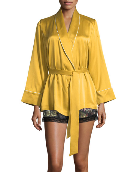 Amelie Silk Short Robe