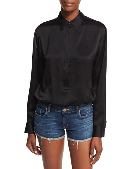 Silk Charmeuse Long-Sleeve Collared Bodysuit
