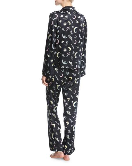 Chantal Moon Jewels-Print Silk Pajama Top