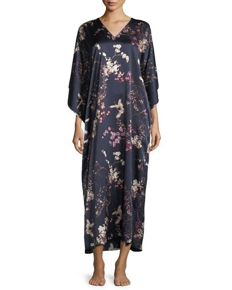 Pandora Floral-Print Silk Caftan