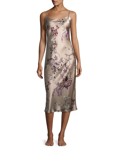 Pandora Floral-Print Silk Nightgown