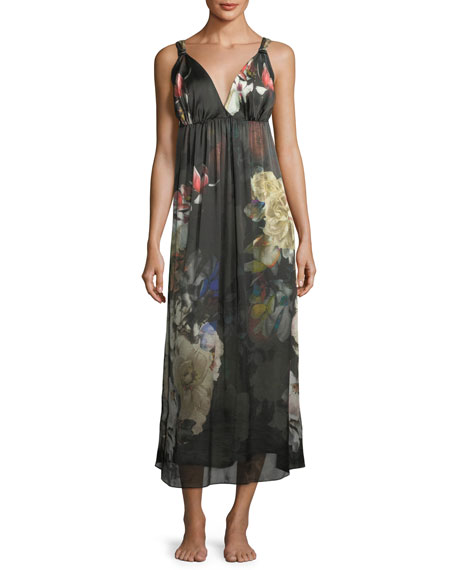 Christine Designs Dark Romance Silk Long Nightgown