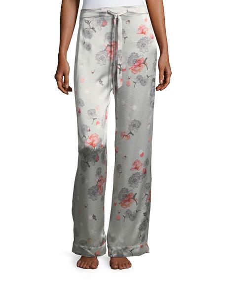 Floral-Print Silk Pajama Pants