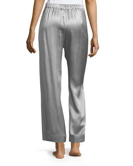 Drawstring-Waist Silk Satin Pajama Pants