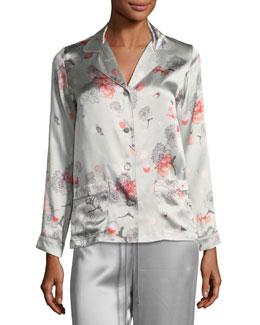 Floral-Print Long-Sleeve Pajama Top