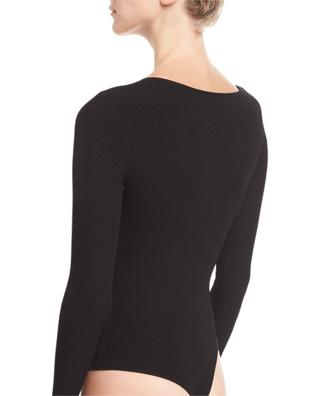 Vivian Asymmetric Long-Sleeve Bodysuit