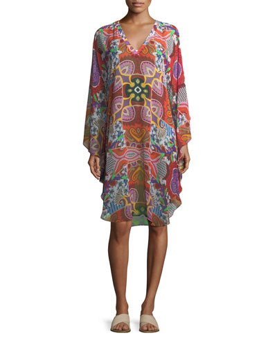 V-Neck Printed Silk Coverup Poncho Dress