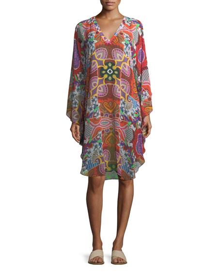 V-Neck Printed Silk Coverup Poncho Dress