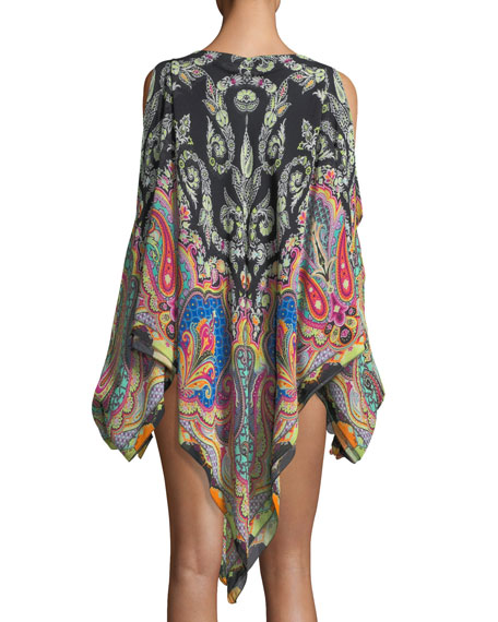 Cold-Shoulder Printed Coverup Poncho, One Size