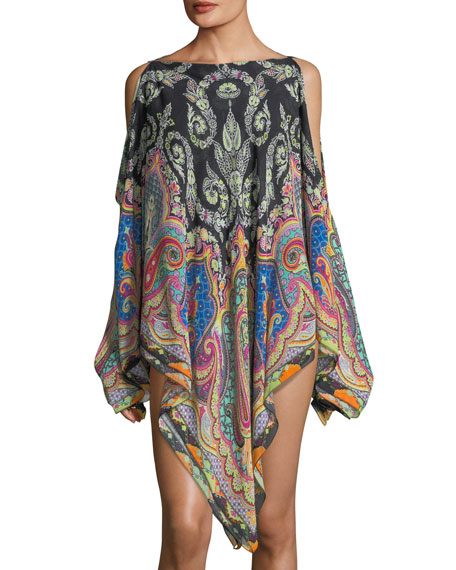 Cold-Shoulder Printed Coverup Poncho