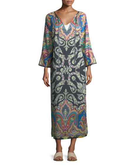 Long-Sleeve Split-Neck Caftan Maxi Dress