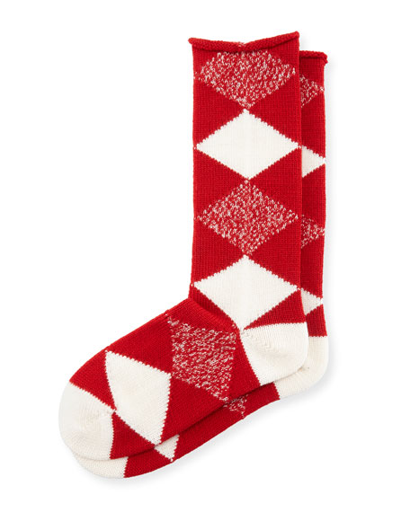 Argyle Merino Wool Socks, Bright Red