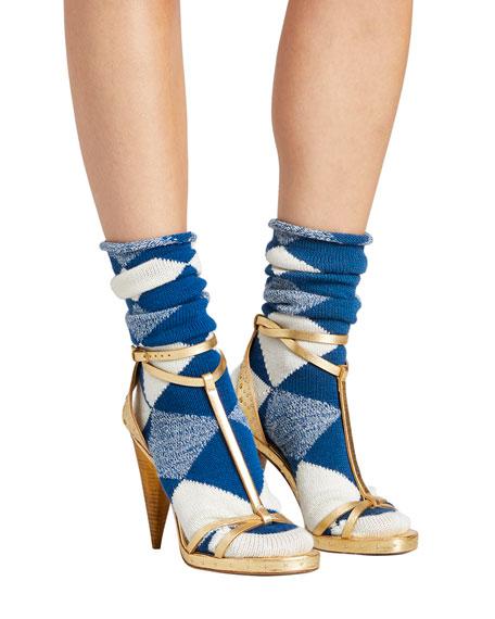 Merino Wool Diamond-Pattern Socks, Cobalt