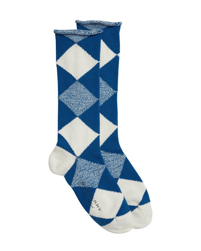 Merino Wool Diamond-Pattern Socks, Cobalt