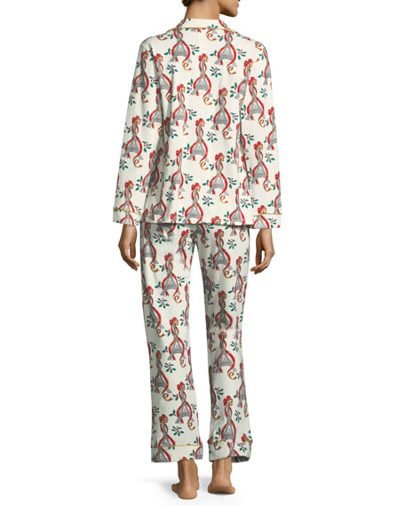Holly Eiffel Tower Print Long Pajama Set