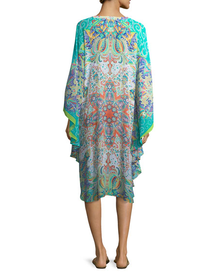 V-Neck Long-Sleeve Printed Caftan Coverup