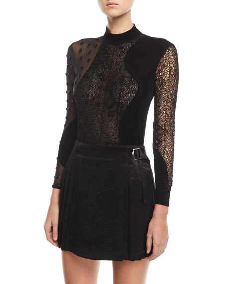 Floral-Sequin Mixed-Media Long-Sleeve Bodysuit