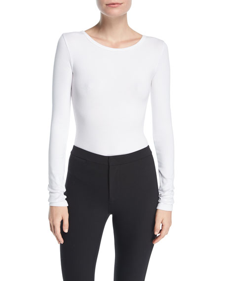 Long-Sleeve Crewneck Ribbed Bodysuit