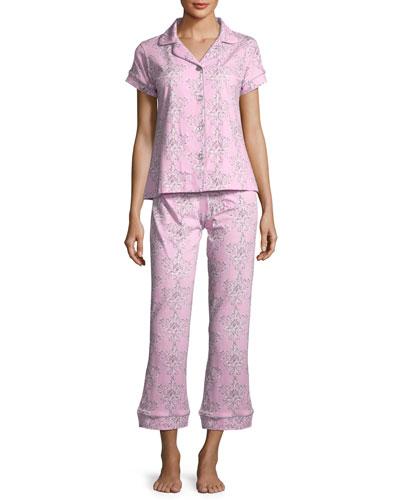 Painted Damask Short-Sleeve Pajama Set