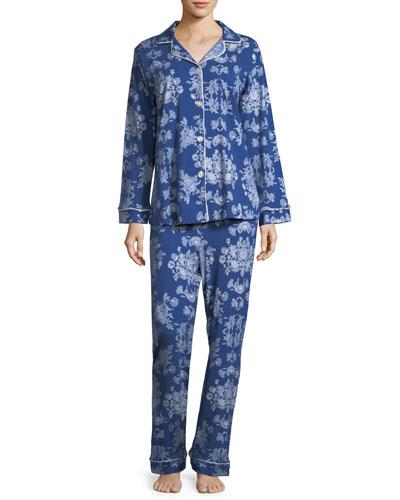 Mystery Garden Long-Sleeve Classic Pajama Set, Plus Size