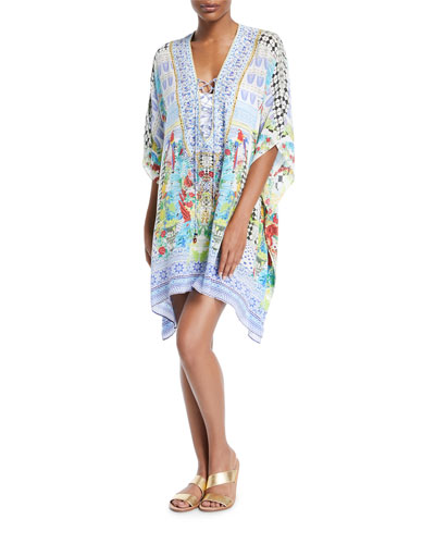 Convertible Short Lace-Up Kaftan Coverup, One Size